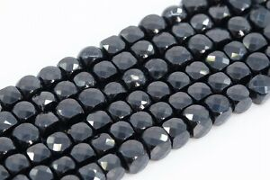 5 strands of BLACK SPINAL grey color coated round facetted beads 2.5mm 13 each