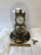 Antique Germany Urania Torsion 400 Day Anniversary Clock w Original Glass Dome