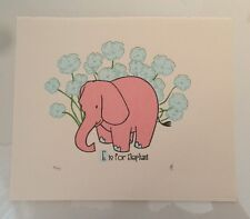 Strawberryluna E Is For Elephant Print Limited Edition Nursery Room Baby Poster