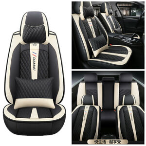 Beige-Black Deluxe Edition PU Leather Car Full Surround Seat Cushion + Pillows