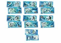 Set of 7 banknotes 100 rubles  Series Space Gagarin Korolev Leonov Polymeric