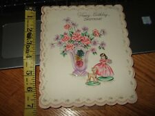 vintage hallmark 1940s birthday greeting card girl fawn miniature pink dress