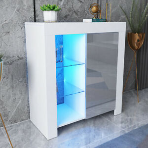 Modern White Cabinet Cupboard Sideboard Matt Body & High Gloss Doors LED Light