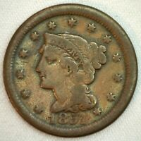 1851 Braided Hair US One Cent Penny Coin 1c Copper Coin VG Very Good Large Cent