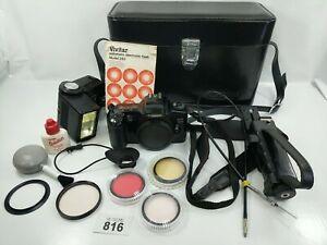 CANON EOS 3000 SLR Camera Leather Case Vivitar 283 Flash Kaiser Rig mount #816