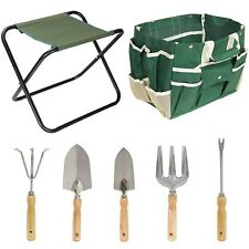 7-Piece Garden Plant Tool Set Folding Stool W/Tool Bag & 5 Stainless Steel Tools