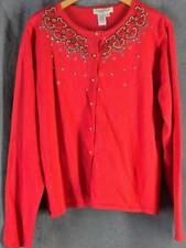 Coldwater Creek 14 NEW Red Cardigan Sweater Beaded NWT