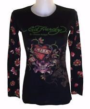 New Women's Ed Hardy Long Sleeved Specialty T Shirt Love Kills Slowly Black XS