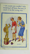 1940s Donald McGill Risque Comic Postcard Male Sculpture Statue House Maid Jane