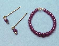 Barbie Dreamz PURPLE PLUM Graduated Pearl Necklace & Earrings Doll Jewelry