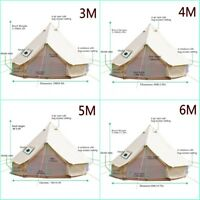 4-Season Canvas Cotton Camping Bell Tent Outdoor Beach Yurts 3M 4M 5M 6M 7M Fly