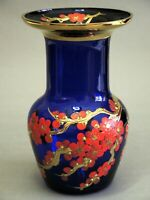 Vintage Czech Bohemian Cobalt Blue Glass Flowers Blooming Plum Enameled  Vase