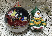 2 Snowman Santa Christmas Ornaments