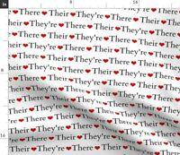 Love Teacher Library English Writer Grammar Geek Spoonflower Fabric by the Yard