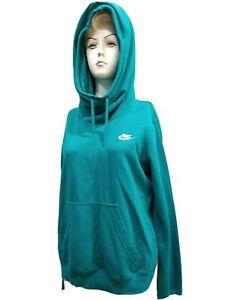 NIKE Women LARGE Hooded ATHLETIC Cotton blend HIGH NECKPull over Sweatshirt(#M2