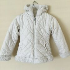 Hawke & Co Girls Jacket Coat Beige Quilted Fur Reversible Winter Puffer Size 6X