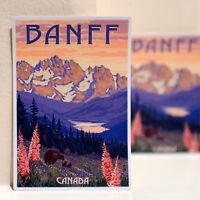 "#3578 Banff BC Canada British Columbia Retro Luggage Label 4x3"" Decal STICKER"