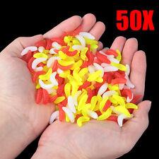 50PCS 2.2cm Maggot Grub Soft Lure Baits Worms Glow Shrimps Fishing Lures Plastic