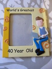 """World's Greatest 40 Year Old Photo Colourful Frame New 7""""x 6""""."""