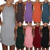 Women Summer Halter Strap Sleeveless Shirt Loose Maxi Party  Mini Bodycon Dress