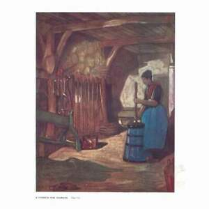 NETHERLANDS A Farmers Wife Churning - Antique Print 1909