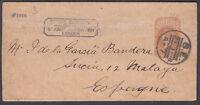 18?8 George Nicholson? Stamp Importer Cachet; Newspaper Wrapper: Malaga, Spain