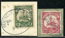 Kiautschou 2 Briefstücke  Seepost Schanghai-Tientsin