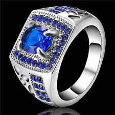 Jewelry Size 8 Women Men18K white gold filled Cute Blue Sapphire Wedding Ring