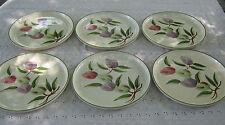 Rare Vintage Six La Monica California Plum Hand Painted Dinner Plates #DH39