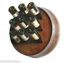 1/4 Wine Barrel Head Wine Bottle Rack Holds 9 Wine Bottles Wall Mount, By WBC
