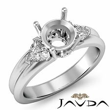3 Stone Fine Diamond Trillion Round Mount Engagement Ring 18k White Gold 0.6 Ct.