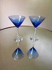 Brilliant Cobalt Blue Martini Glasses Set of 2 Festive Glassware Fancy Entertain