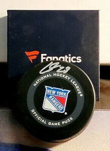 Rangers Lias Andersson Signed Autographed Puck Fanatics COA New In Box Official