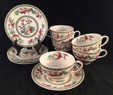 "Johnson Bros England ""Indian Tree"" Tea Cups & Saucers, Set of 6"