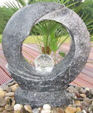 Wasserspiel SET Mond Quellstein 55cm Granit anthrazit Gartenbrunnen dreh. Glasku