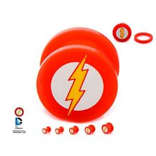 "Flash Logo Screw Fit Acrylic Plug Plug 1/2"" G 12PR Licensed DC Comics"