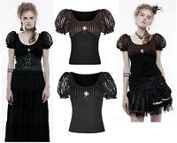 RQ-BL Steampunk Bluse Gothic Shirt Victorian Brosche Jabot Rüschen Gears SP182