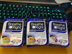 LOT OF 3 - BREATHE RIGHT ORIGINAL NASAL STRIPS 30 LARGE TAN STRIPS