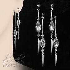 Long Sterling Silver Swarovski Crystal Thin Double Drop Handmade Stick Earrings