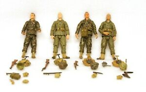 """4 Vintage Detailed Posable 4"""" Toy Soldiers Figures + Accessories Guns Backpacks"""