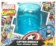 Marvel Avengers Captain America Head Shaped Drinking Glass 19 oz Blue Tumbler