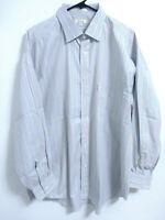 Faconnable Mens Size 8/18L equals 2XL Blue Multicolor Striped Button Dress Shirt