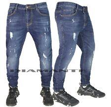 Jeans Uomo Denim Pantaloni Strappati Elasticizzati Design Pittura Nuovo 2208