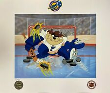 Toon Art St. Louis Blues Warner Bros Taz NHL Hockey Devil of a Save Litho PP