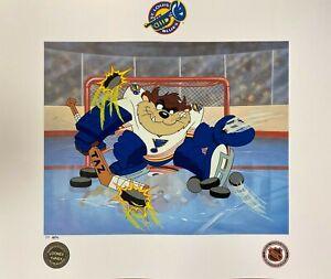 Toon Art St. Louis Blues Warner Bros Taz NHL Hockey Devil of a Save Litho PP