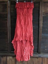 Poetry Orange Sexy Crinkle Ruffle Strapless Casual High Low Empire Dress S