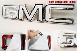07-20  GMC Sierra Yukon White Carbon Fiber Front Grill Emblem Overlay Kit decal