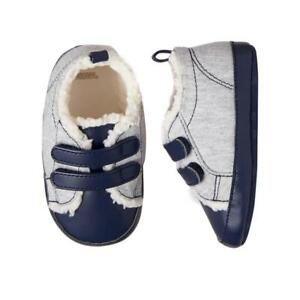 Gymboree Infant Toddler Baby Boy's Navy Blue Sherpa-Lined Crib Shoes Size 4