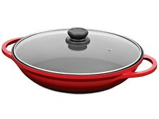 TUFFSTEEL FORGE WOK w/ GLASS LID COOKWARE NON STICK 32CM RED