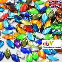 50 Mixed  Beads Acrylic Rhinestones Gem  7 x 15mm  Tear Drop Flat Back Sew On